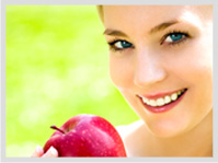 Holistic Dental Image; Healthy Girl with Apple